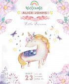 Watercolor Isolated Cute Watercolor Unicorn Clipart. Nursery Unicorns Illustration. Princess Unicorn poster