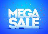 Vector Illustration Mega Super Big Sale Poster. Bold Letter With Colorful Confetti poster