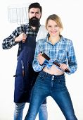 Backyard Barbecue Party. Cooking Together. Essential Barbecue Dishes. Bearded Hipster And Girl Hold  poster