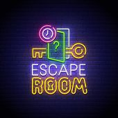 Escape Room Neon Sign, Bright Signboard, Light Banner. Quest Room  Logo Neon, Emblem. Vector Illustr poster