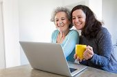 Happy Joyful Senior Mother And Her Adult Daughter Using Laptop For Video Call. Young And Elderly Wom poster