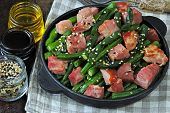 Green Beans With Bacon In A Cast Iron Skillet. Healthy Eating Concept. Keto Diet. Pegan Diet. Paleo  poster