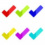 Colorful Check Marks. Set Of Colorful Check Marks. Vector Illustration. Eps 10. poster