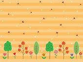 Colorful Flower And Tree On Gradient Stripe Pastel Orange Or Yellow Background. Spring Season Wallpa poster