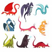 Funny Colorful Fire Breathing Dragons Monsters Weird Snake Like Creatures Flat Cartoon Icons Set Iso poster
