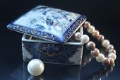 The Beautiful Beads From Pearls Which Is Dangling Down From A Ceramic Casket, Nearby A Big Bead. Jew poster