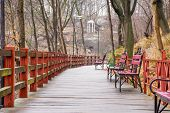 Wooden Path - Hinged Bridge With Wet Boards, Wrought Iron Benches And Lanterns In The Park On A Hill poster