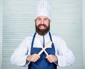 Hipster Bearded Chef Hold Wooden Spoon. Kitchenware And Cooking Concept. Lets Try Taste. Add Some Sp poster