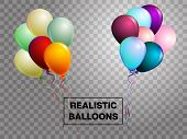 Balloons Isolated Colorful Vector Set On Transparent Background. Festive Birthday Or New Year Celebr poster
