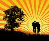 Happy Family At Sunset poster
