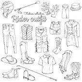 Set Of Objects On The Rider Equipment Theme. Vector Images Of Sports Outfits And Clothes For The Hor poster