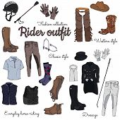 Set Of Objects On The Rider Equipment Theme. Vector Colorful Images Of Sports Outfits And Clothes Fo poster