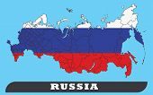 Russia Map And Russia Flag. Russia Map And Russia Flag Use For Background Drawing By Illustration poster