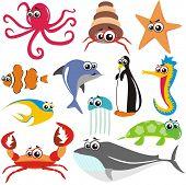 Постер, плакат: Животных рыб набор: краб осьминог рыбы акулы черепаха Медузы китов морской конек звезда