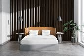 Wooden Bedroom Interior With Plant poster
