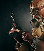 image of gas mask  - portrait of man with gas mask - JPG