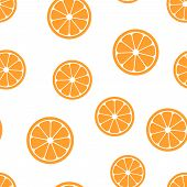 Orange Fruit Icon Seamless Pattern Background. Business Concept Vector Illustration. Orange Citrus T poster