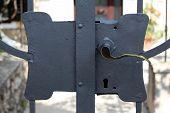 Freshly Painted Metal Door Lock On Strong Backyard Doors With Polished Door Handle And Large Lock On poster