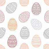 Seamless Pattern Of Easter Egg Vector Flat Icons Painted In Traditional Style. Eggs Isolated Vector. poster