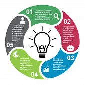 5 Steps Vector Element In Five Colors With Labels, Infographic Diagram. Business Concept Of 5 Steps  poster