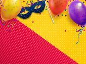 Carnival Masquerade Festive Background. Kids Birthday Party With Confetti, Carnival Mask And Balloon poster