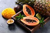 Papaya Fruit, Sweet Ripe Fresh Papaya, Mango, Pine Apple, Tropical Fruits, Raw Vegan Food poster