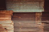 Rusty Corrugated Iron Metal Texture. Old Metal Wall. poster