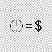 Time Is Money Sign Isolated On Transparent Background. Money Is Time. Effective Time Management. Con poster