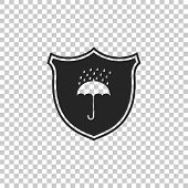Waterproof Icon Isolated On Transparent Background. Shield And Umbrella. Water Protection Sign. Wate poster