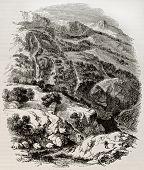 Постер, плакат: Дафна сады старый вид Антиохии региона Создан Фримен после де Лаборд Опубликовано Magasin P