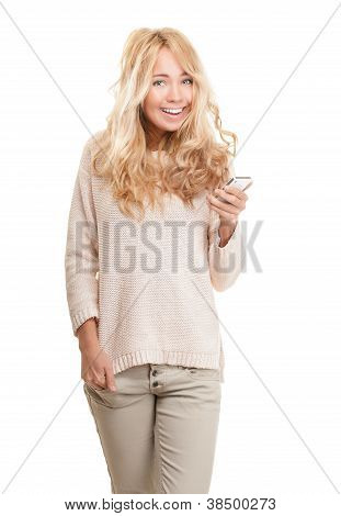 Young Happy Woman With Modern Phone On White.