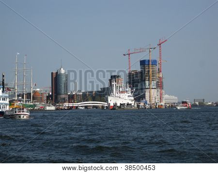 View of Hamburg with the Elbe