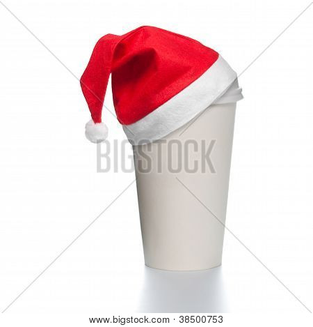 Paper Coffee Cup With Santa Hat