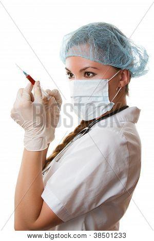Female Medical Doctor Or Nurse With Syringe, Isolated On White Background