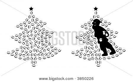 Santa Claus And Smiling Tree
