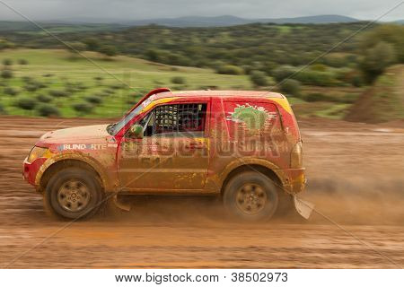 Portalegre, Portugal - November 3: Reinaldo Varela Drives A Mitsubishi Pajero In Baja 500, Integrate