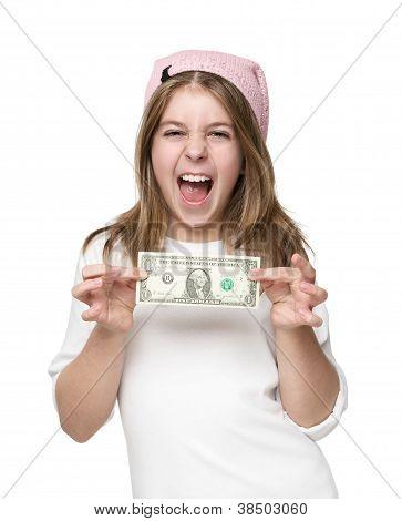 Little Girl Showing Dollar Bill