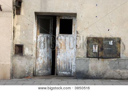 Destroyed The Old Wooden Door