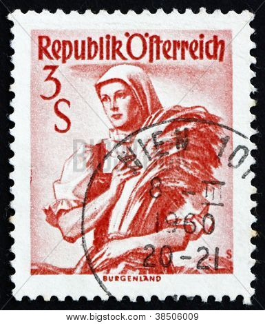 Postage stamp Austria 1949 Woman from Burgenland