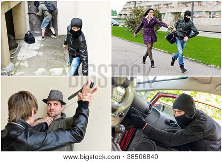 Story Of Different Robberies. Collage Made Of Four Pictures