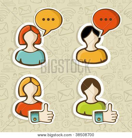 Social Media User Profile Button Icons Set