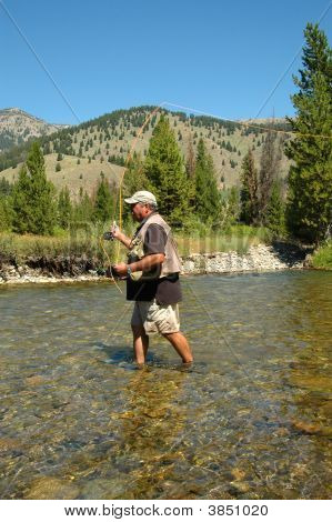 Idaho Fly Fisherman Casting
