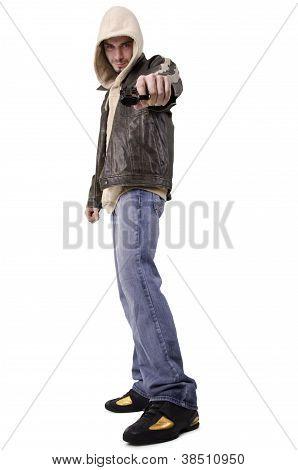 Bad man pointing gun