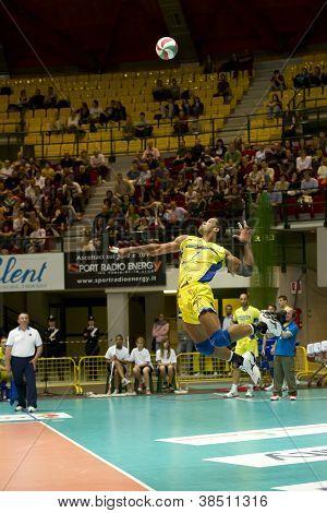 Milan, Italy -  Angel Dennis Jamping Ball