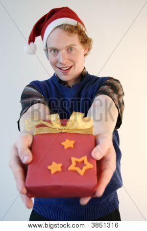 Nerd Giving Xmas Present