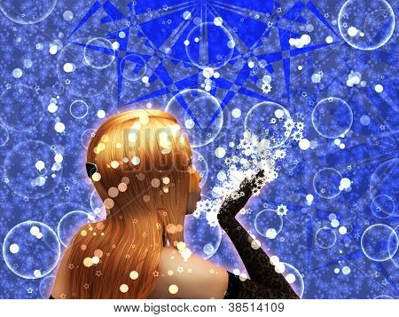 Blond Girl Is Blowing Snowflakes