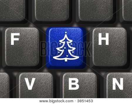 Computer Keyboard With Christmas Tree Key