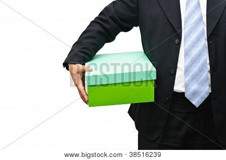 Businessman Holding A Gift Box