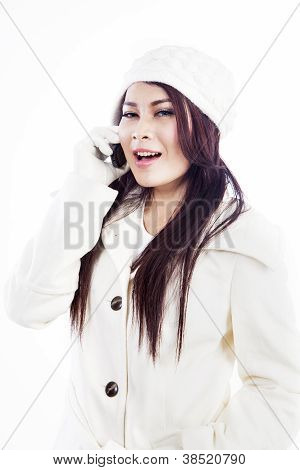 Happy Customer Calling Isolated In White