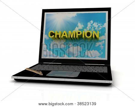 Weltmeister Zeichen auf dem Laptopbildschirm